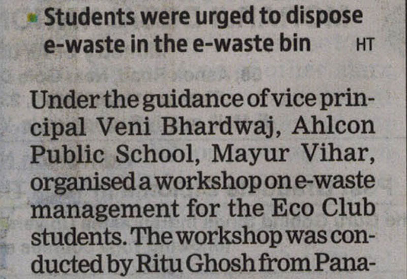 E-waste mgmt at Ahlcon Public School