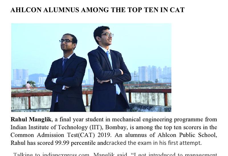 Ahlcon Alumnus among the top ten in CAT